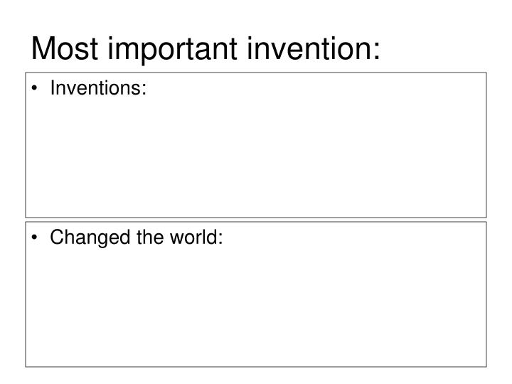 Most important invention:
