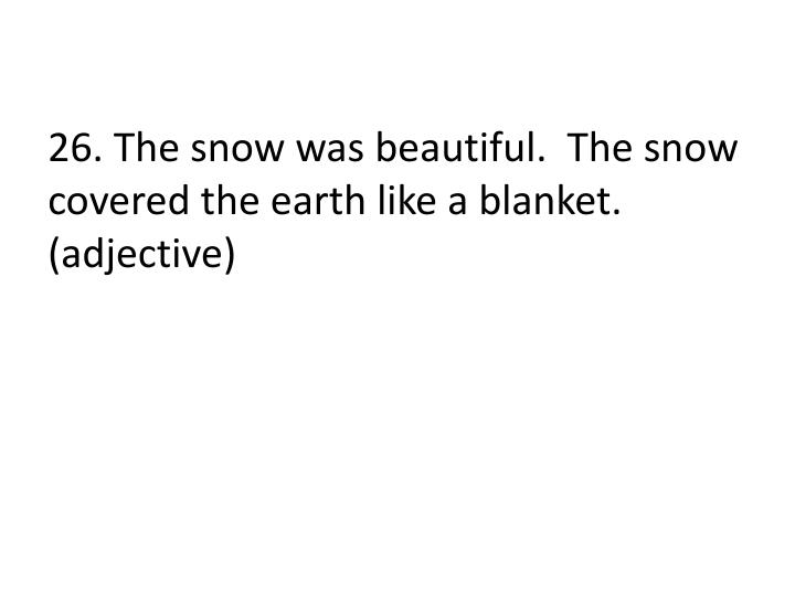 26. The snow was beautiful.  The snow covered the earth like a blanket. (adjective)