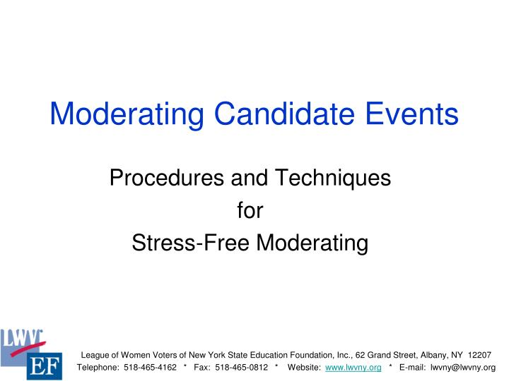 Moderating candidate events