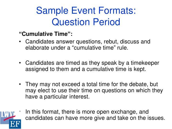 Sample Event Formats: