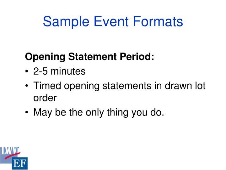 Sample Event Formats