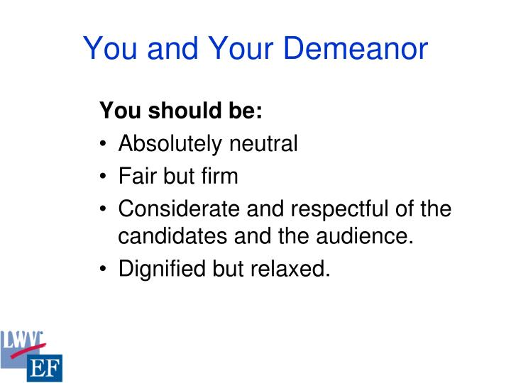 You and Your Demeanor