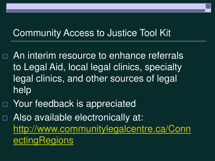 Community Access to Justice Tool Kit
