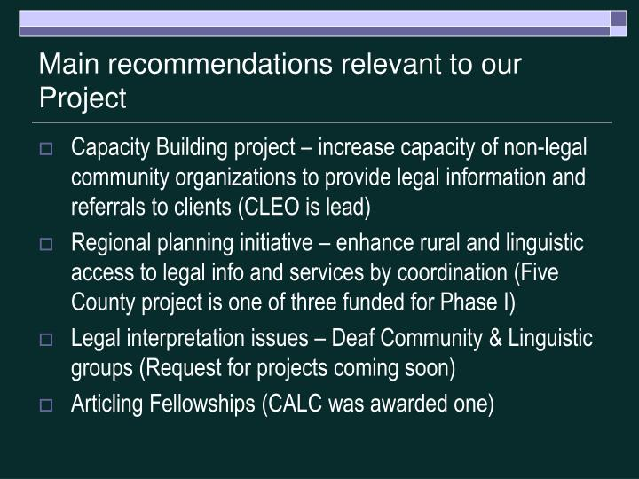 Main recommendations relevant to our project