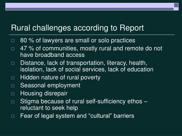 Rural challenges according to Report