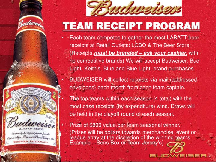 Team receipt program