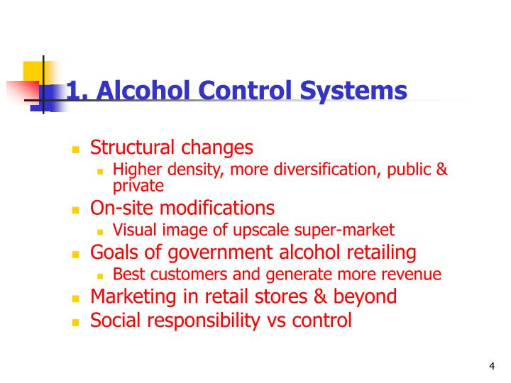 1. Alcohol Control Systems