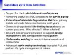 candidate 2010 new activities
