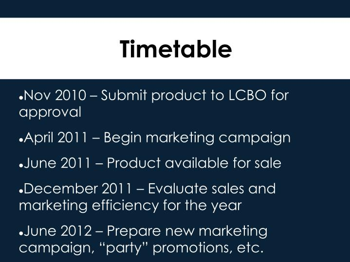 Nov 2010 – Submit product to LCBO for approval