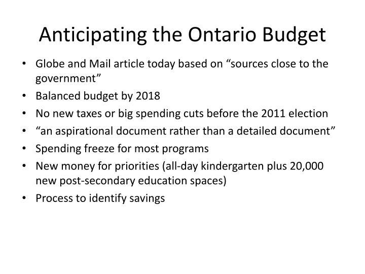 Anticipating the ontario budget