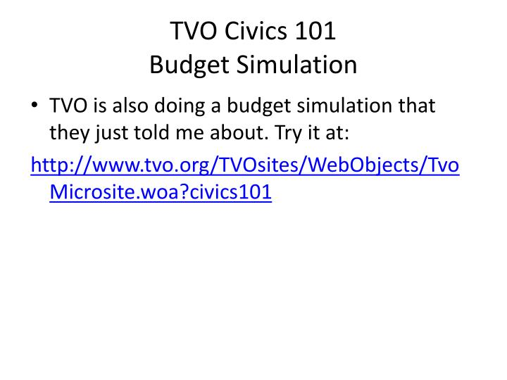 Tvo civics 101 budget simulation