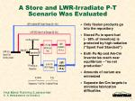 a store and lwr irradiate p t scenario was evaluated