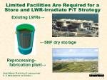 limited facilities are required for a store and lwr irradiate p t strategy