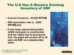 the u s has a massive existing inventory of snf