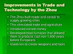 improvements in trade and technology by the zhou