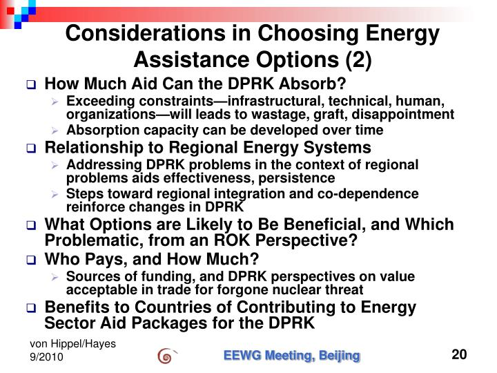 Considerations in Choosing Energy Assistance Options (2)