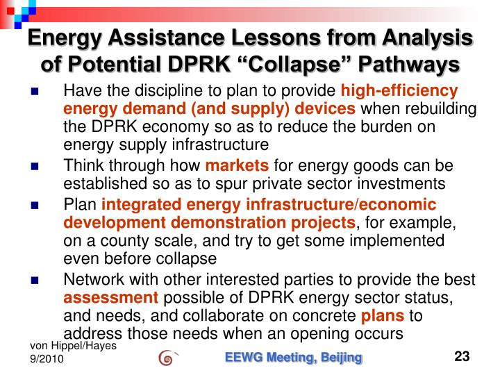 """Energy Assistance Lessons from Analysis of Potential DPRK """"Collapse"""" Pathways"""