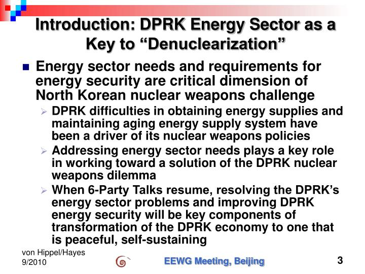Introduction dprk energy sector as a key to denuclearization