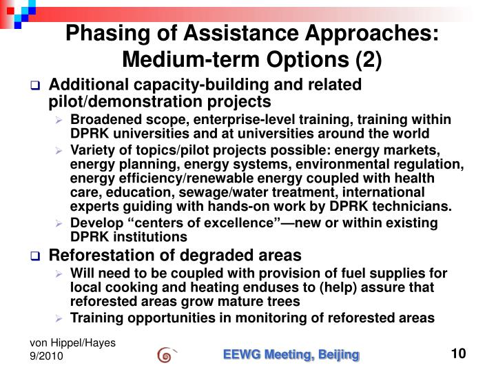 Phasing of Assistance Approaches: