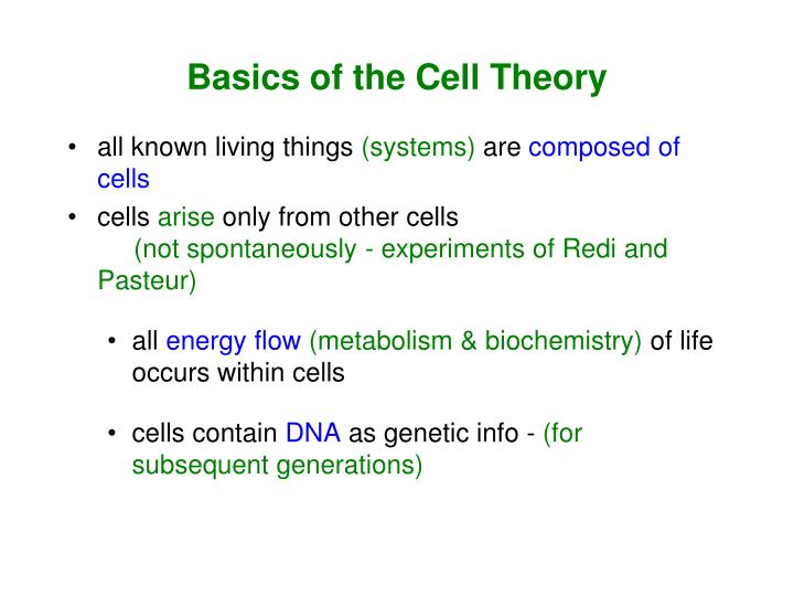Basics of the Cell Theory