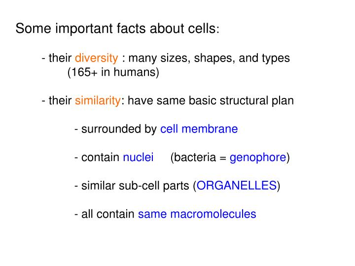Some important facts about cells
