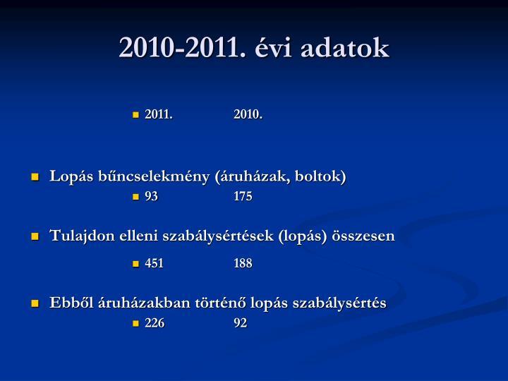 2010-2011. évi adatok