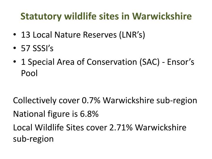 Statutory wildlife sites in warwickshire