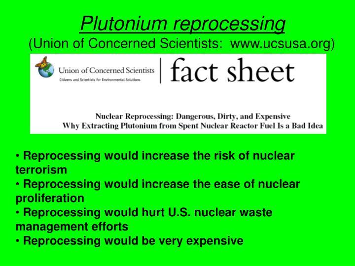 Plutonium reprocessing
