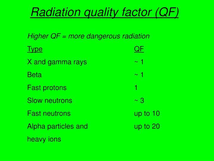 Radiation quality factor (QF)