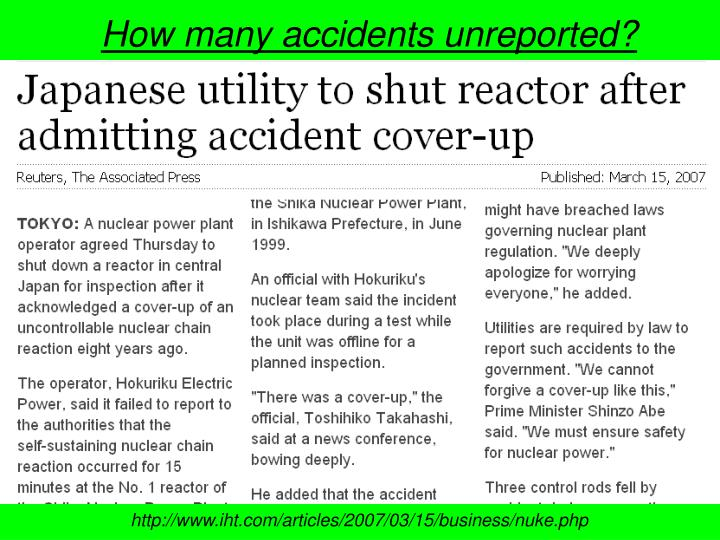 How many accidents unreported?