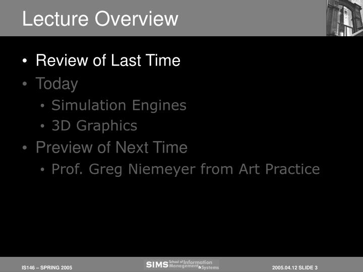 Lecture overview1
