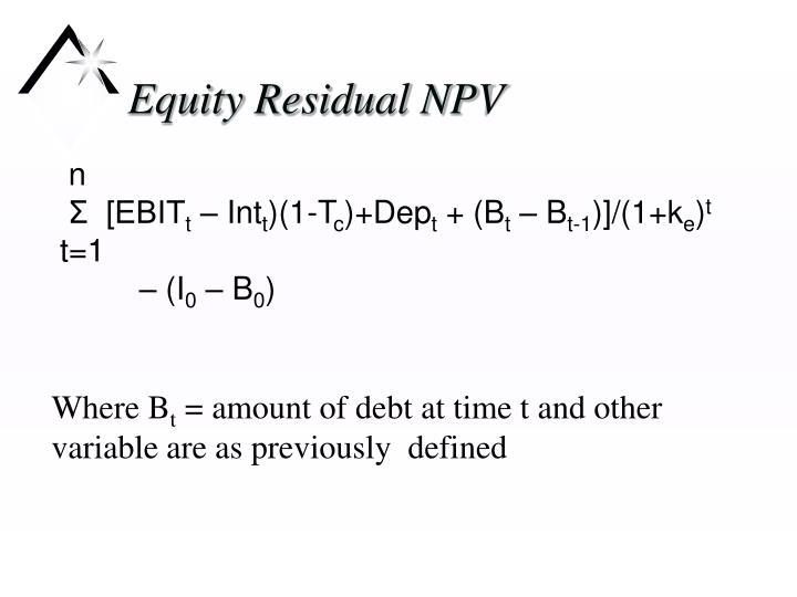 Equity Residual NPV