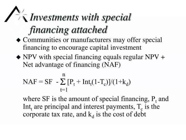 Investments with special financing attached