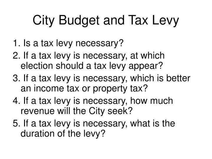 City budget and tax levy1