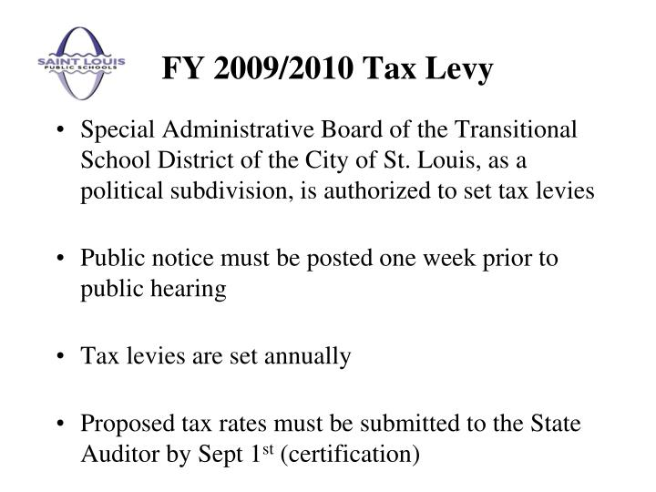 Fy 2009 2010 tax levy