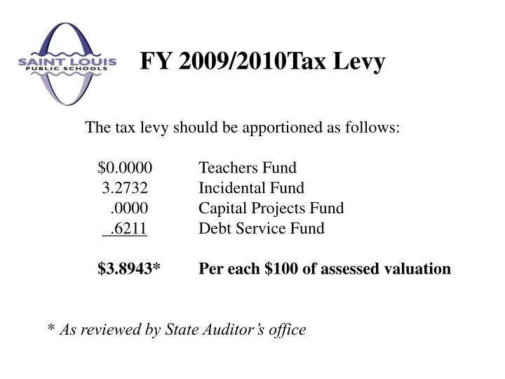 FY 2009/2010Tax Levy