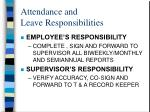 attendance and leave responsibilities