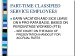 part time classified service employees