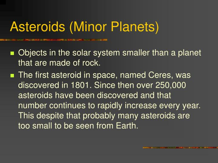 Asteroids minor planets