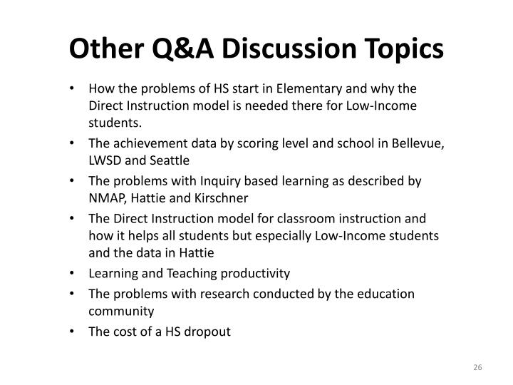 Other Q&A Discussion Topics