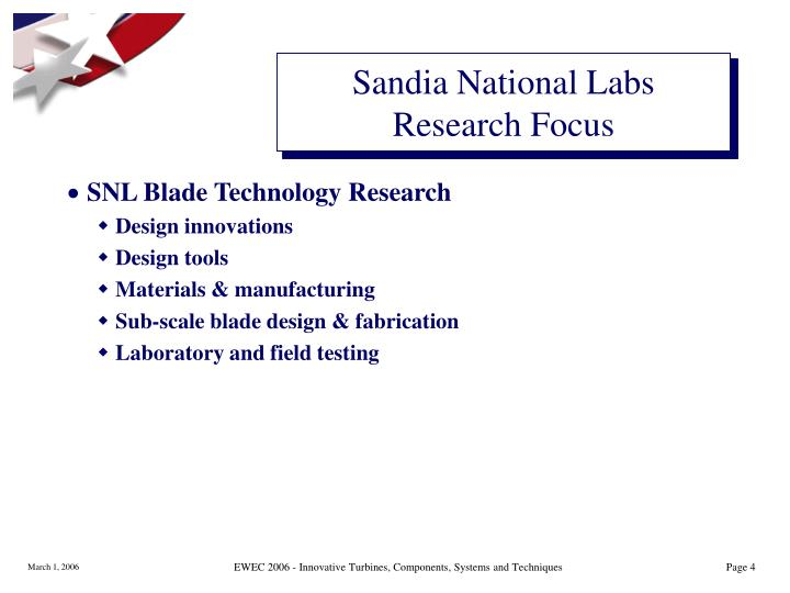 Sandia National Labs Research Focus
