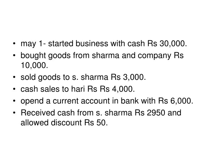 May 1- started business with cash Rs 30,000.