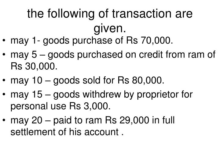 the following of transaction are given.
