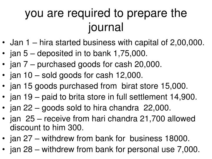 you are required to prepare the journal