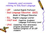 commonly used acronyms relating to esl dual language