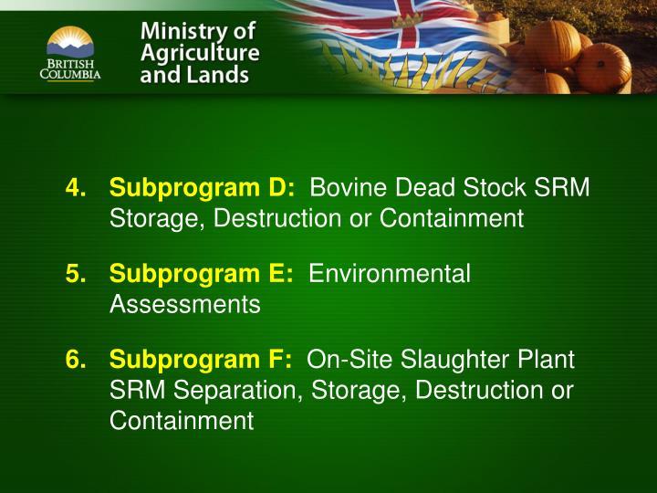 Subprogram D: