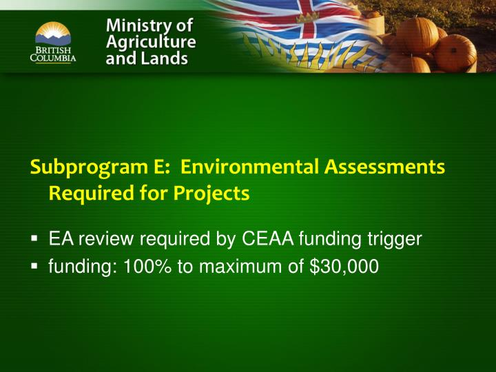 Subprogram E:  Environmental Assessments Required for Projects
