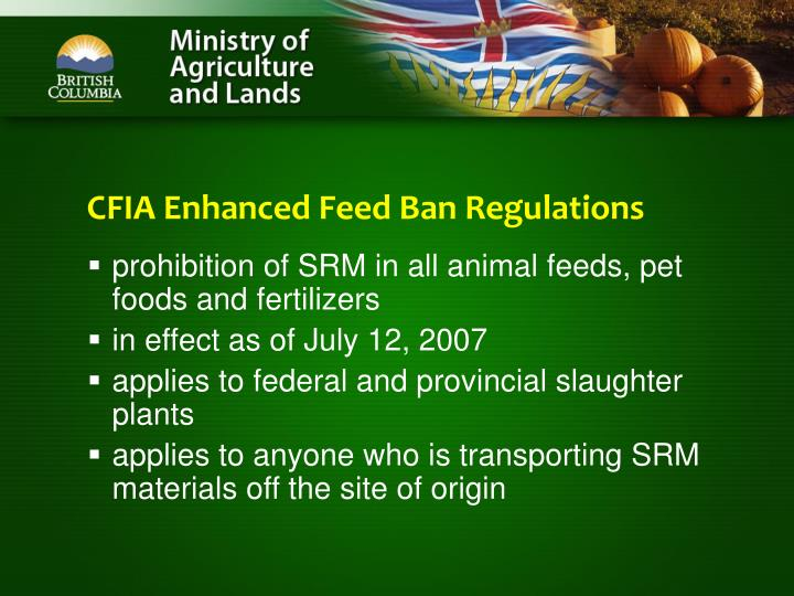 CFIA Enhanced Feed Ban Regulations