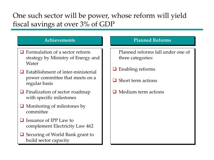 One such sector will be power, whose reform will yield fiscal savings at over 3% of GDP