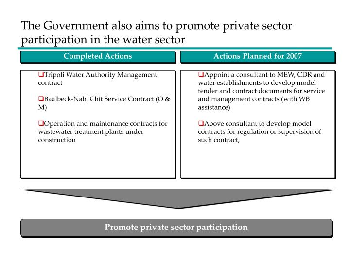 The Government also aims to promote private sector participation in the water sector